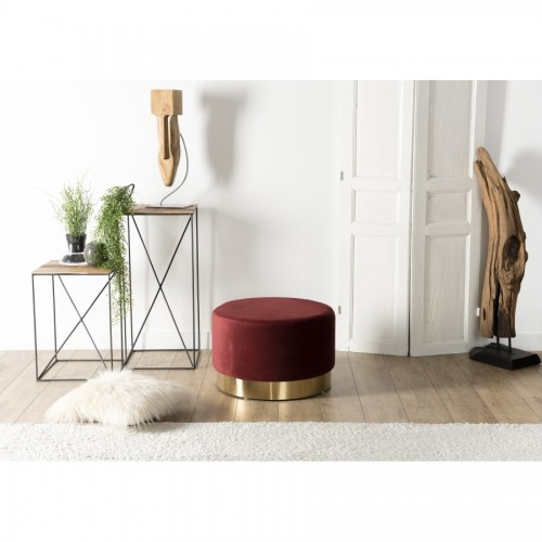 Pouf Rond AGATHA Rouge